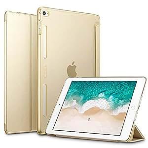 ESR iPad Mini4 ケース 【シリコンバンパー】簡単着脱 PUレザー スタンド機能 オートスリープ TPUバンパー・PCバック クリア 傷つけ防止 三つ折タイプ iPad Mini4(モデル番号A1538 A1550) 専用スマートカバー(ゴールド)