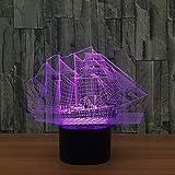 新しいカラフルな帆船ナイトライト3Dスマートホームランプは、ファッションの誕生日パーティー雰囲気ライトHをLed (色 : 2, サイズ さいず : Touch)