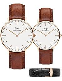 ダニエル ウェリントン Daniel Wellington 腕時計 ペアウォッチ CLASSIC 本革ストラップ2本付き [並行輸入品]