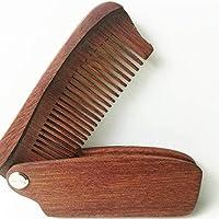 100%ナチュラルフォールディング木製櫛ウッドコーム、グリーンサンダルウッドアンチスタティックデタングリングホーンコームメンズヘア、ビアとMustacheスタイリングコーム、ポケットは毎日のためにグルーミング