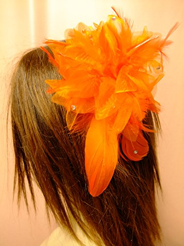 オレンジ パーティードレス ヘッドドレス コサージュ ヘッド...