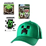 Minecraftグリーンクリーパーflex-fit野球キャップ& 9ステッカーギフトセット