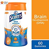 SCOTT's DHA Chewable Gummies, Fish Oil Omega 3 Children Supplement for Immunity and Brain Development Support, Orange Flavour, 60ct