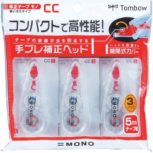 トンボ鉛筆 修正テープ MONO モノCC 5mm 3個 KCB-326