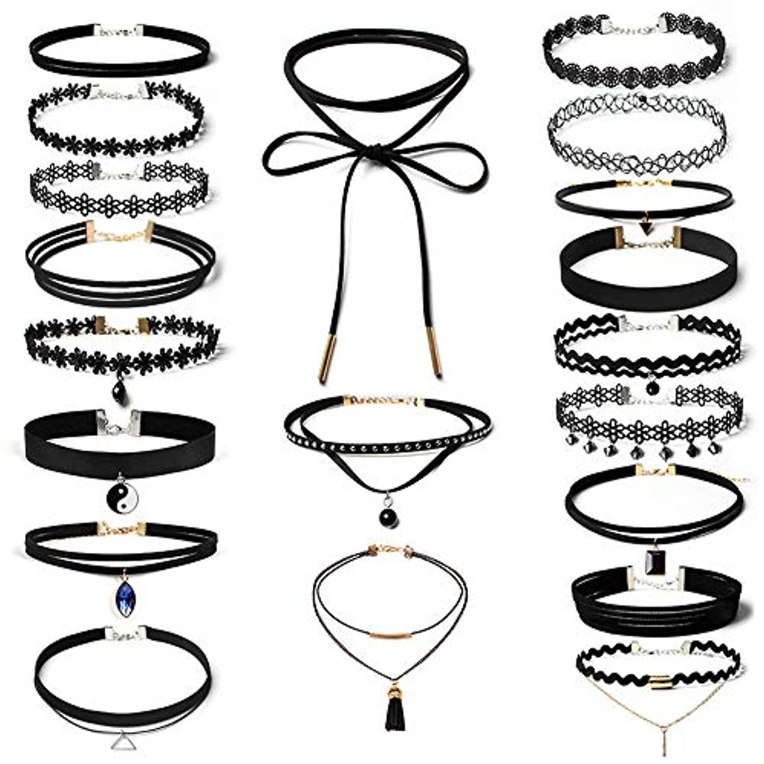 Nicircle 20個チョーカーネックレスセットストレッチベルベットクラシックゴシックタトゥーレースチョーカー 20Pieces Choker Necklace Set Stretch Velvet Classic Gothic...