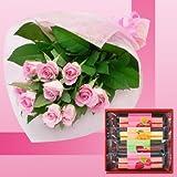 誕生日プレゼント ピンクローズ花束&千疋屋フルーツケーキ4本 お母さんへのメッセージカード付き