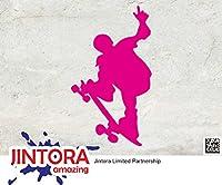 JINTORA ステッカー/カーステッカー - SKATEBOARDER - Skateboard - スケートボード - スケートボード - 81mm x139mm - JDM/Die cut - 車/ウィンドウ/ラップトップ/ウィンドウ- ピンク