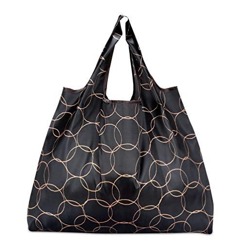 折りたたみ買い物袋 防水素材 (サークルブラック)