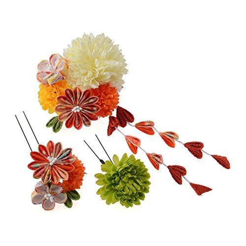 髪飾り コーム・Uピン3点セット マムにつまみ花 白/オレンジ