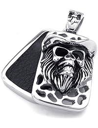 [テメゴ ジュエリー]TEMEGO Jewelry メンズステンレススチール製のヴィンテージゴシックスカルペンダントネックレス、ブラックシルバー[インポート]