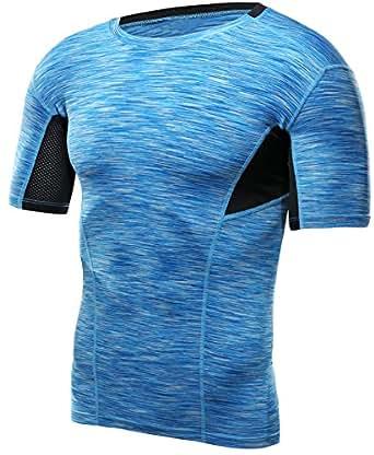 HONENNA 加圧インナー 加圧シャツ 着圧スポーツインナー メンズ 半袖 インナー 男性用機能性肌着 コンプレッションウェア 吸汗速乾 姿勢矯正 猫背解消 (M, ブルー)