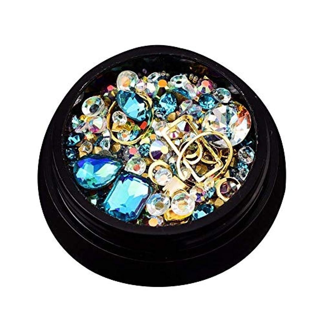 戻る否定する減るミックスフルーツのサイズのフラットネイル用品3 D(ブルーウォーター)ボックスセットリベットネイルデコレーション結晶ダイヤモンド