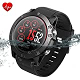 Zeblaze Vibe 3 ECG Smart Watch, IP67 Waterproof, HR Color Screen, Rugged Heart Rate Monitor Pedometer Fitness Tracker Watch Outdoor Sports SmartWatch for iOS Android(Black)