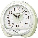 セイコークロック 薄緑パール 13×14×9.6cm 置き時計 目覚まし時計 卓上時計 テーブルクロック アナログ QM748M