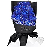 YOBANSA 枯れない花 花束 ソープ フラワー プレゼント ギフト フレグランス ギフトボックス付 お祝い 記念日 お見舞い バレンタインデー ホワイトデー 父の日 (青)