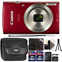 Canon IXUS 185/ELPH 18020MPレッドコンパクトデジタルカメラwith 48GBトップアクセサリーギフトセット