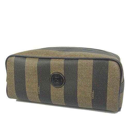 (フェンディ) FENDI ヴィンテージ ペカン PVC×レザー クラッチ バッグ ポーチ 保存袋付き ブラウン 26920eSaM 中古