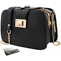kilofly Women's Faux Leather Chain Clutch Party Purse Shoulder Bag + Money Clip