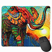 Cheng xiao Mouse Pad Colorful Elephant Artistic Illustration Rectangle Rubber Mousepad Non-toxic Print Gaming Mouse Pad with Black Lock Edge,9.8 * 11.8 in,ベーシック マウスパッド ゲーム用 標準サイズ