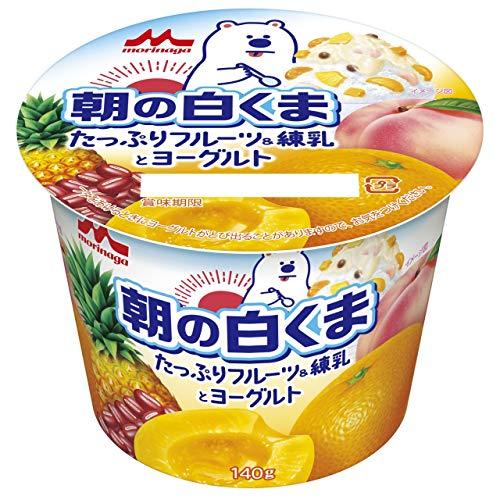 森永乳業 朝の白くま たっぷりフルーツ&練乳とヨーグルト 140g 6個