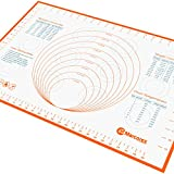 Large Silicone Pastry Mat (60x40cm) with Measurements and Conversion Charts, Non-Stick Non-Slip, Fondant Mat for Rolling Dough