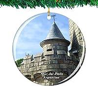 Weekino アルゼンチンタンクタワーマルデルプラタクリスマスオーナメントシティ旅行お土産コレクション両面 磁器2.85インチ ぶら下がっている木の装飾
