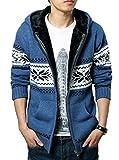 (ベクー)Bekoo メンズ ジップ ニット カーディガン パーカー フード 付き カウチン セーター (26 青花 XL)