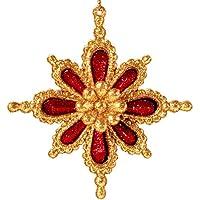 クリスマス装飾赤とゴールドスノーフレークオーナメント4インチ
