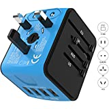 Jollyfit Universal Travel Adapter with 4 USB Ports Charger AC Socket Power Adapter Wall Plug for US UK AU EU Worldwide 150 Countries with Safety Fuse Cell Phone Laptop (Blue 4 USB)