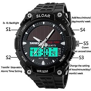 Hiwatchソーラースポーツ時計の子供防水手首アナログLEDデジタル時計ブラック