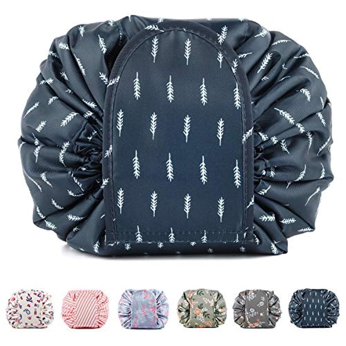 選ぶ黒神のNarweyレイジー化粧バッグ ドローストリングコスメティックバッグ 大容量 防水 トラベルケース 化粧品収納袋 メイクポータブルバッグ レディース