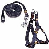 (イーエフイー)EFE 犬ハーネス 中、小型犬 犬用リード デニム製 耐久性 ハーネス調節可能 簡単設置 散歩 トレーニング 3色 XS/S/M/L 1-30KG ブラック S