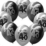 Kicode 印刷 40歳 ブラックグレー ラテックス 風船の装飾 ハッピー40歳の誕生日 誕生日会