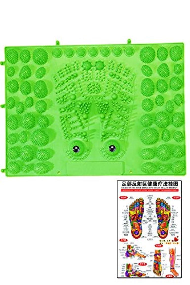 国際インフルエンザ安定した(POMAIKAI) 足型 足ツボ 健康 マット ダイエット 足裏マッサージ 反射区 マップ セット (グリーン)