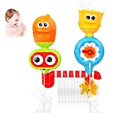 Toddler Bath Toy with Lemon Rain Cloub -Waterfall Water Station,Spinnig Propellor and Rotating eyes, Rich Colors Enhance Baby's Thinking Ability and Creativity Baby Bathing (No Batteries Required)