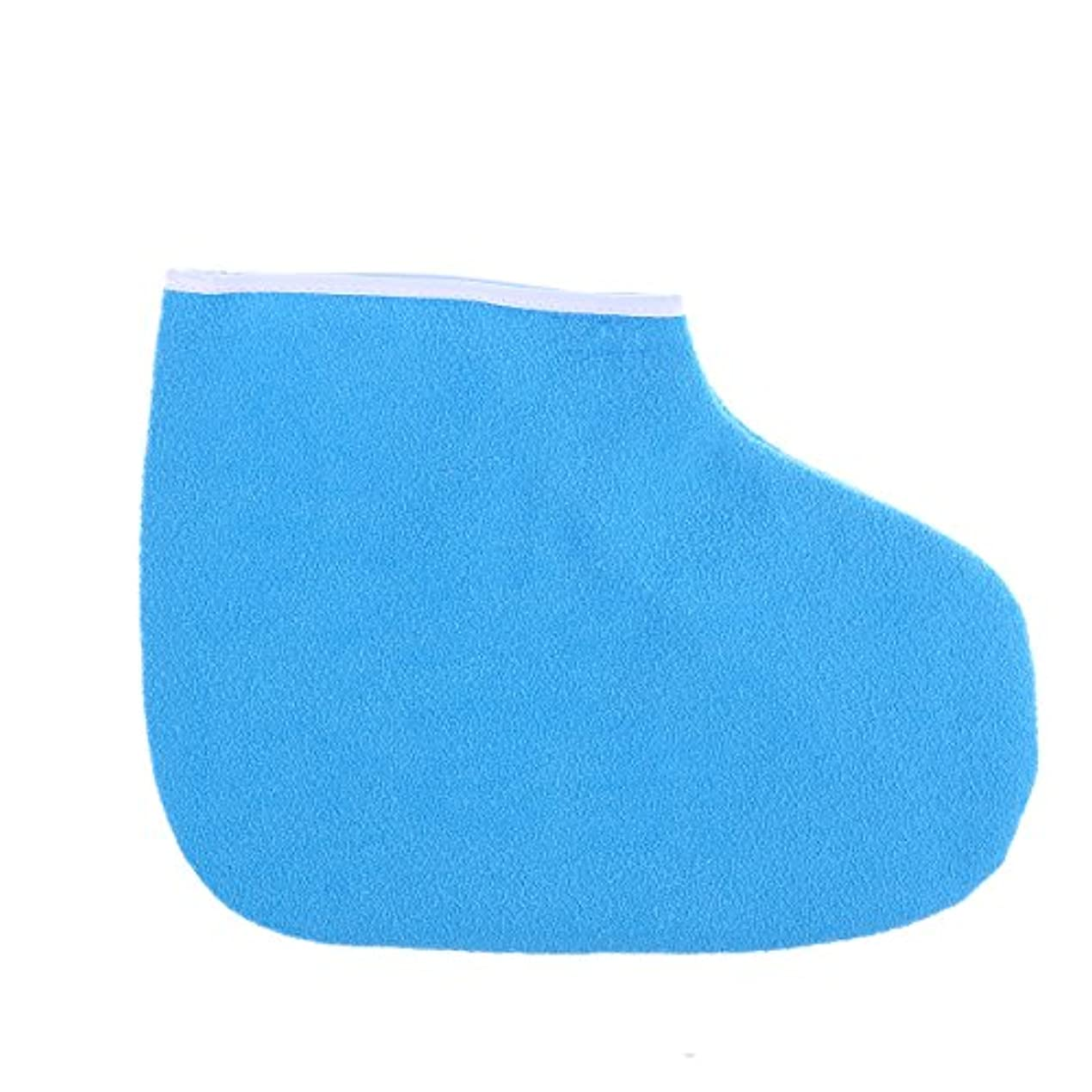 狼着る回転するHEALLILY パラフィンブーティワックスバスフットスパカバー温熱療法絶縁ソフトコットン保湿フットストラップ(ブルー)