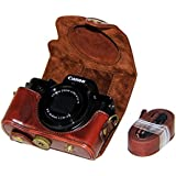 TUYUNG PU Leather Protective Camera Case Bag with Strap for Canon PowerShot G5 X G5X SLR Camera - Coffee