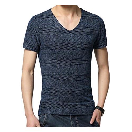 (リザウンド)ReSOUND メンズ 綿麻 Vネック 半袖 カットソー シャツ 薄手 B 紺色 3XL 横ライン ニット 調 かっこいい スリム tシャツ フォーマル デザイン シルエット インナー アウトドア ライン お洒落 B ネイビー 3XL #186
