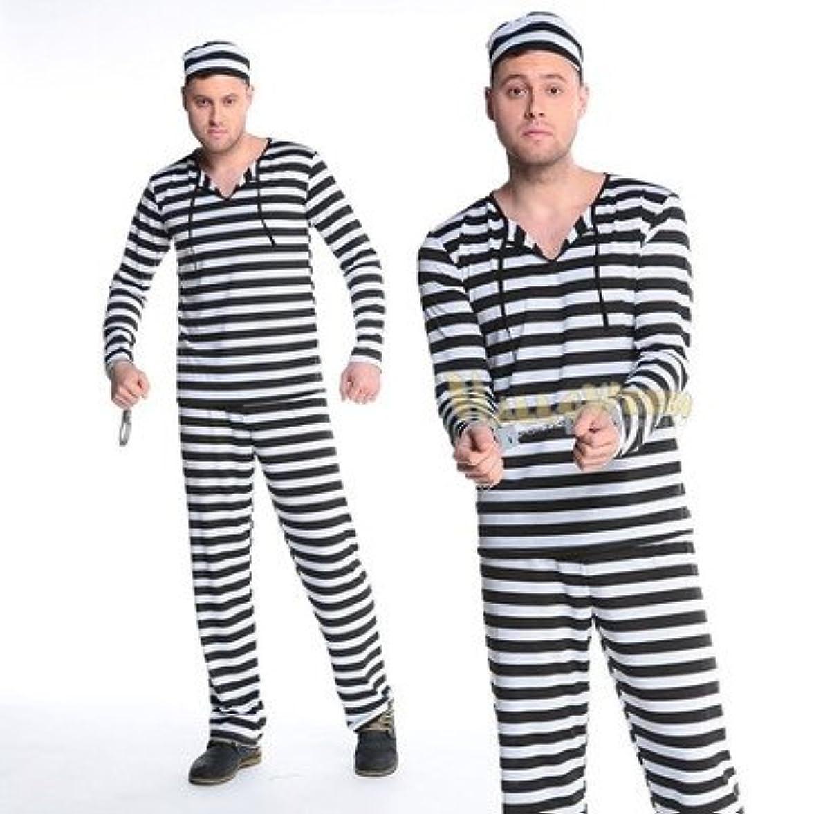 イースター踊り子リードイチゴガール コスプレ衣装 メンズ 囚人コスチューム 犯人服 全身タイツ 手錠 4