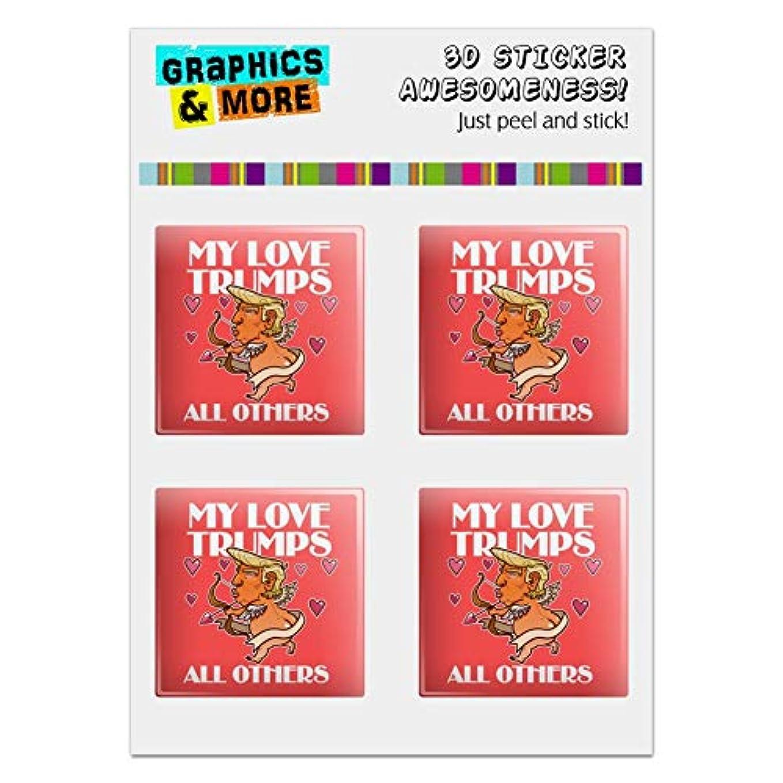 寄り添う森林スケルトンGRAPHICS & MORE My Love Trumps All Others President Cupid with Hearts バレンタインデー ロマンス コンピューターケース モデディング バッジ エンブレム 樹脂コーティング 1インチ ステッカー 4枚セット