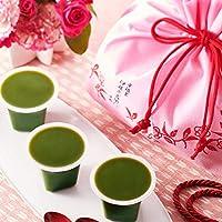 伊藤久右衛門 母の日 プレゼント 和菓子 宇治抹茶生水ようかん 3個入 お茶のティーバッグ セット 花 の巾着