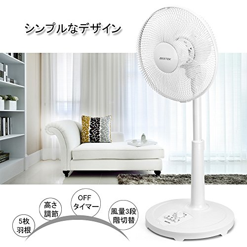 BESTEK 扇風機 リビング扇風機 羽根径30cm 首振り タイマー付 ホワイト BTTS3011P