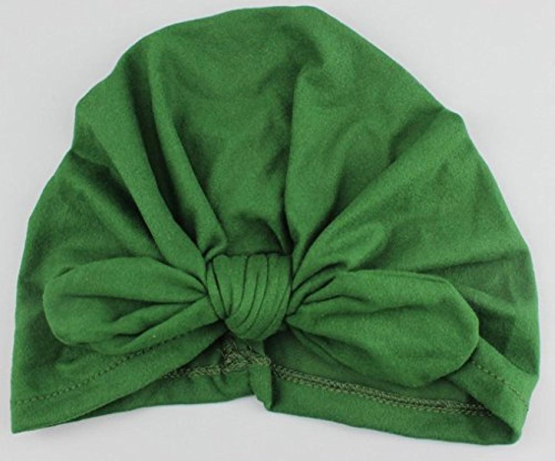 SODIAL 新生児 子供用 人気 スイミング帽子 かわいい ベビー キャップ ハット 結び目 ファッション スリーブ 柔らかい (green)