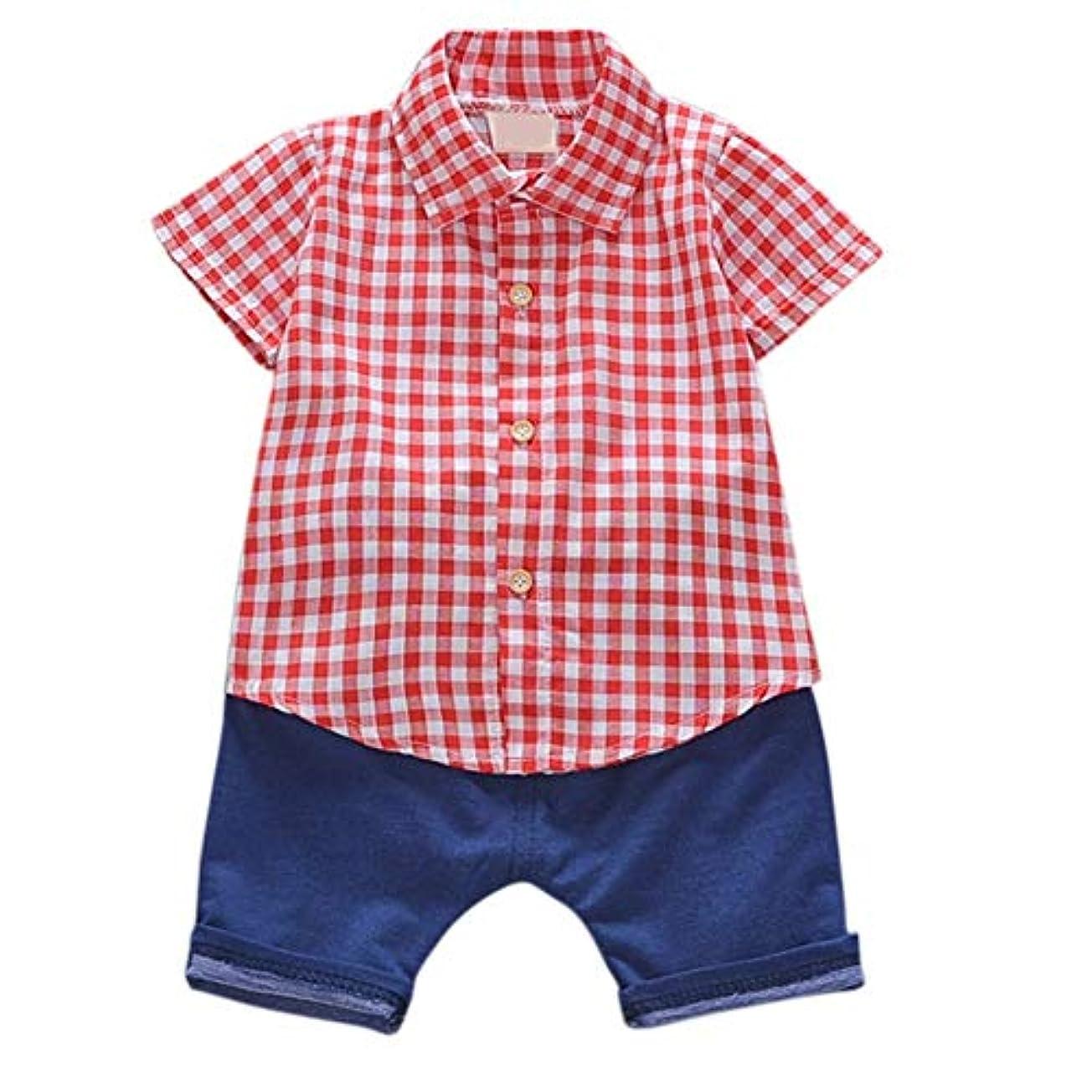 高原例退化するRad子供 サマーキッズベビーボーイズカジュアル半袖チェック柄プリントTシャツトップス+デニムショーツコスチュームセット