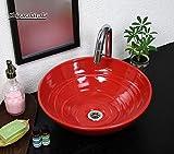 信楽焼 8カラーから選べる 洗面ボール 【赤 手洗い鉢(中型) tr-3190】洗面鉢 洗面器 洗面シンク 洗面ボウル 洗面台 手洗い 手洗い器 陶器洗面 陶器 焼き物 しがらき焼 おしゃれ オシャレ 和風 洋風
