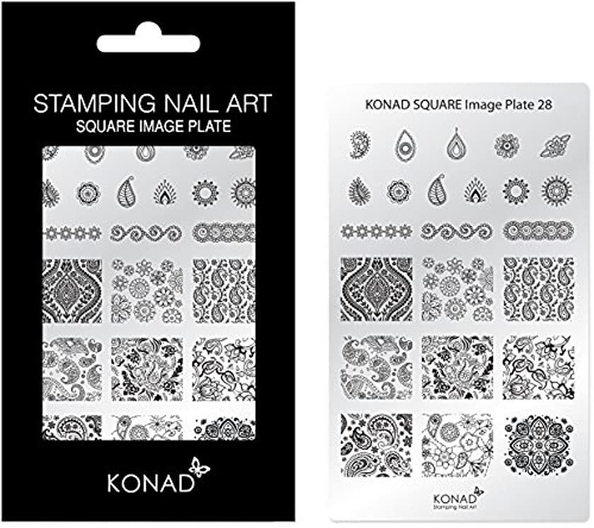 あご日光削除するKONAD コナド スタンピングネイルアート専用 スクエアイメージプレート 28 ペイズリー