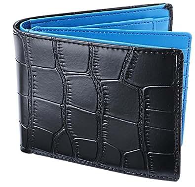 [レガーレ] 二つ折り財布 本革 大容量 カード15枚収納 カラー豊富 (ベロア化粧箱入り) 大容量2つ折り財布 クロコブラック×ブルー