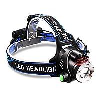 釣りセンサーヘッドライト、充電式LEDヘッドライト、ハイパワーヘッドライト、夜間釣りグレアの超高輝度充電、3000メートルヘッドマウント式長距離LEDズームミニ防水、多機能夜釣り家の屋外,BlueLight