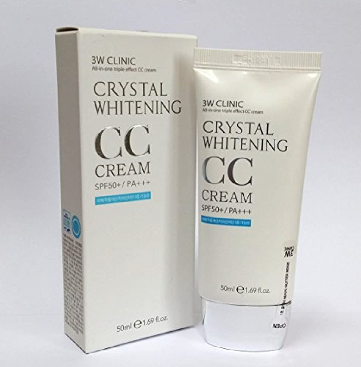 [3W CLINIC] クリスタルホワイトニングCCクリーム50ml SPF50 PA +++ / #02 Natural Beige / Crystal Whitening CC Cream 50ml SPF50 PA...