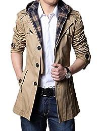 メンズ ラペルコート 2色 ウインドブレーカー ジャケット フード付き 取外し可 パーカー Pコート 長袖 K5137